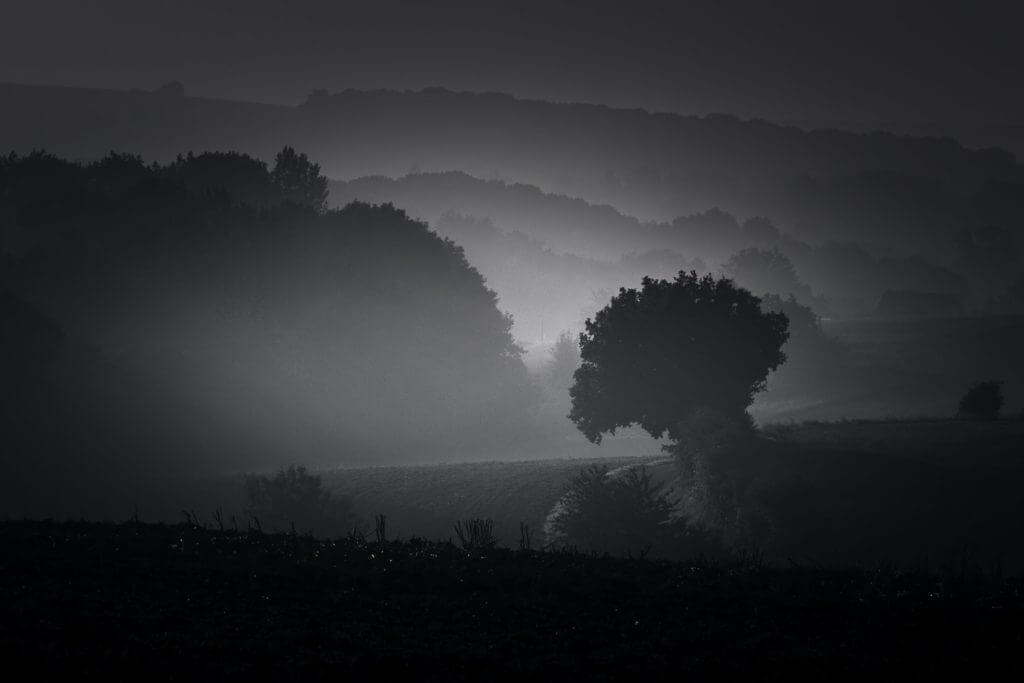 Paysage : Campagne sous la brume - Somme (Picardie)